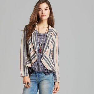 Free People Textured Linen Striped Blazer